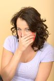 Happy Young Woman embarrassed or shocked Royalty Free Stock Image