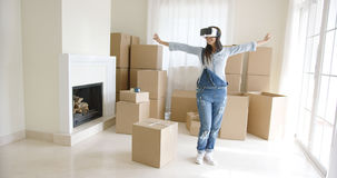 Happy young woman enjoying her VR headset Royalty Free Stock Images