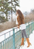 Happy young woman enjoying winter Stock Photo