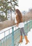 Happy young woman enjoying winter Stock Photo