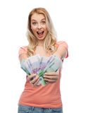 Happy young woman with euro cash money Stock Image