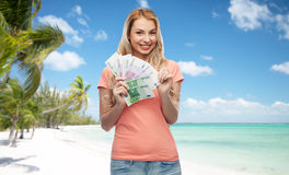 Happy young woman with euro cash money Royalty Free Stock Images