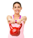 Happy Young Woman Exercising With Kettle Bell Stock Images
