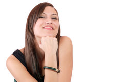 A happy young woman with facial expression Stock Photos