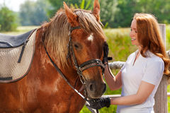 Happy young woman feeding her beautiful bay horse. Portrait of happy young woman feeding her beautiful bay horse at the farm in summer Stock Photo