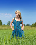 Young woman in the field of green ears.Portrait Stock Images