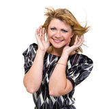 Happy young woman with flying hair on white Royalty Free Stock Image