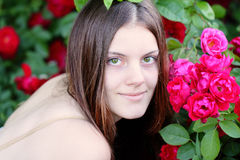Happy young woman in the garden Stock Photography