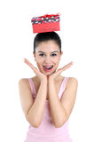 Happy young woman and gift box Royalty Free Stock Photos