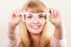 Happy young woman girl with glasses. Stock Photos