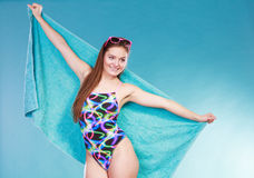 Happy young woman girl in swimsuit with towel. Stock Image
