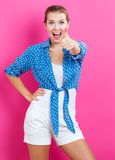 Happy young woman giving thumbs up Stock Photos