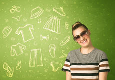 Happy young woman with glasses and casual clothes icons. Concept on green background Stock Images