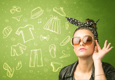 Happy young woman with glasses and casual clothes icons Royalty Free Stock Photo