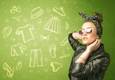 Happy young woman with glasses and casual clothes icons Stock Photos