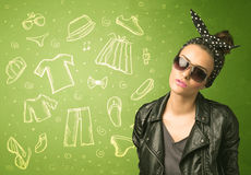 Happy young woman with glasses and casual clothes icons Royalty Free Stock Photos