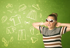Happy young woman with glasses and casual clothes icons Royalty Free Stock Photography