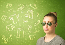 Happy young woman with glasses and casual clothes icons Stock Photo