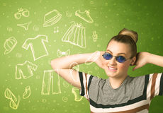 Happy young woman with glasses and casual clothes icons Stock Image