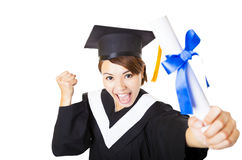 happy young woman graduating holding diploma Stock Photo