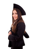 Happy young woman on graduation day. Isolated on white Stock Photos