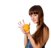 Happy young woman with grapefruit Stock Photos