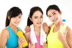 Happy young woman group of fit people stock images