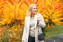 Happy young woman with a handbag in a trendy coat posing. Near autumn yellow foliage stock image