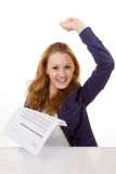 Happy young woman is happy about her employment contract. 100 percent pure white background, teen girl is happy Royalty Free Stock Photo