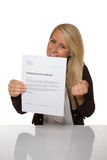 Happy young woman is happy about her employment contract. 100 percent pure white background, teen girl is happy Stock Image