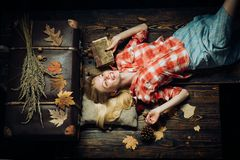 Happy young woman having fun with Leaf fall. Fashion portrait of beautiful sensual woman. Leaf fall. Having fun stock images