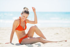 Happy young woman having having fun time on beach Royalty Free Stock Image