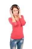 Happy young woman with headphones Stock Photos