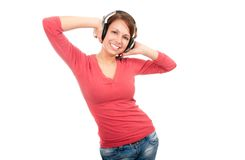 Happy young woman with headphones Royalty Free Stock Photo