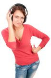 Happy young woman with headphones Royalty Free Stock Image