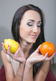 Happy young woman and healthy vegetarian food, fruit Stock Photo