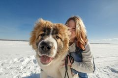 Happy young woman and her Caucasian Shepherd dog are hugging on the snow outside.  stock images