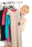 Happy young woman in her own dressing room Stock Photography