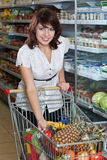 Happy young woman with her purchased grocery item. Portrait of a happy young woman with her purchased grocery items in a cart Royalty Free Stock Photo