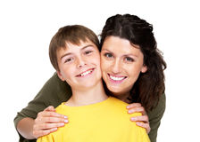 Happy young woman with her son over white Royalty Free Stock Photos