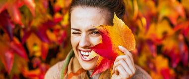 Happy young woman hiding behind autumn leafs in fron. Portrait of happy young woman hiding behind autumn leafs in front of foliage Royalty Free Stock Photos