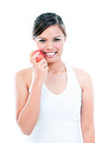 Happy Young Woman Holding Apple Stock Photo