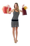 Happy Young woman holding bags Royalty Free Stock Photos