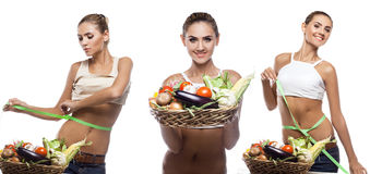 Happy young woman holding basket with vegetable.  Stock Photo