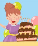 Happy young woman holding birthday cake photo, best moments on pictures, portrait of family members vector Illustration. Happy young woman holding birthday cake Royalty Free Stock Photos