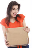 Happy young woman holding a cardboard box Stock Photography