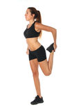 Happy young woman holding doing exercise Royalty Free Stock Images