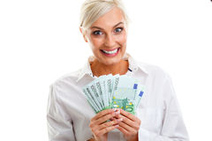 Happy young woman holding euro bills Stock Photography