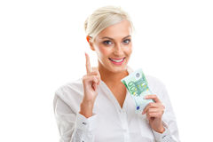 Happy young woman holding euro bills Royalty Free Stock Image