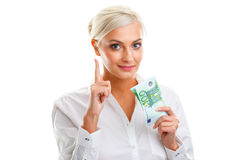 Happy young woman holding euro bills Stock Photos